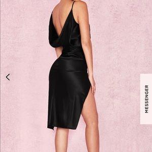 House of cb black satin wrap dress